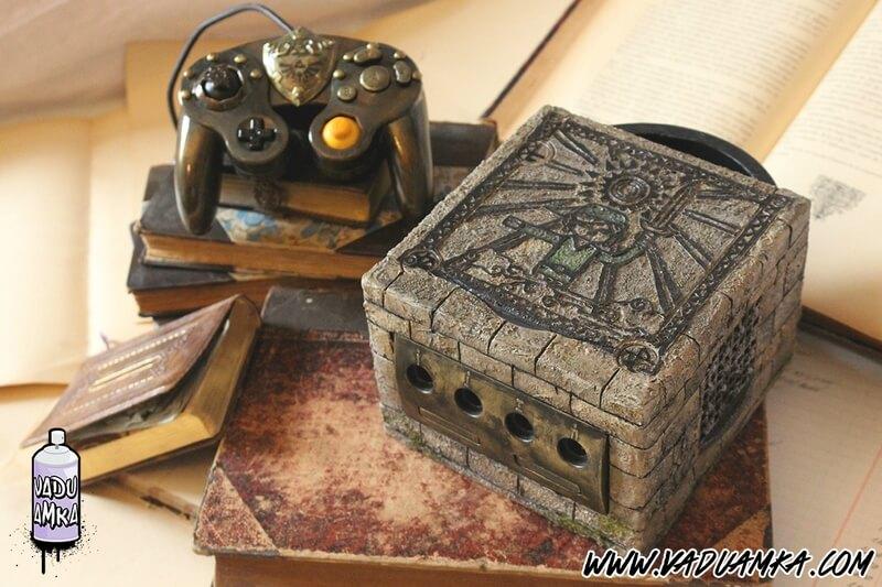 gamecube personalizado com tema de the legend of zelda the wind