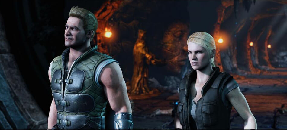Johnny Cage e Sonya Blade no Mortal Kombat X