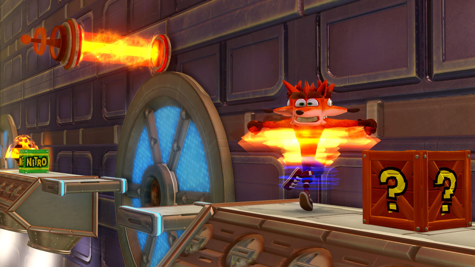 Screenshot da fase Future Tense de Crash Bandicoot N. Sane Trilogy